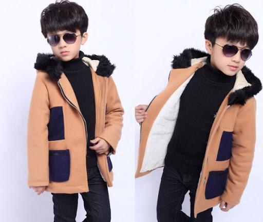 Mix đồ cho bé trai với áo choàng mùa đông