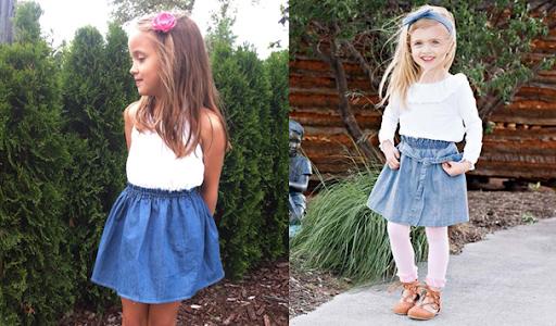 Mix đồ cho bé gái với áo phông và chân váy xanh da trời